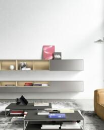 Hemelaer-Interior-Kettnaker Wohnzimmer Wohnraeume Wohnen SOMA Haengeregal Regal beleuchtet T3 Couchtisch Sofatisch Beistelltisch